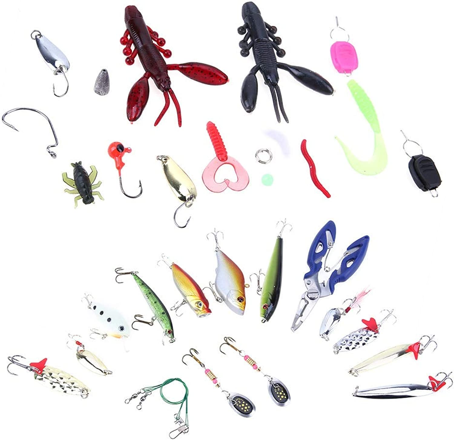 Sellify Fishing Lures  101pcs set Fishing Lures Crankbaits Set Kit Soft and Hard Lure Hooks Trout Bass Fishing Lures Hooks Set with Box