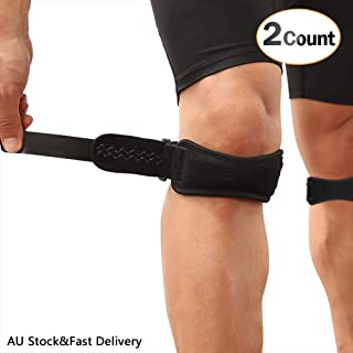 AGPTEK 2 Pack Patella Knee Strap, Anti-Slip Knee Pain Relief Band with Silicone Pad,Pain Relief for Basketball Volleyball, Running, Hiking Gear, Tennis etc, Both for Men and Women, Black