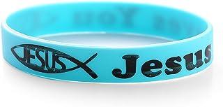 Komonee Jésus t'aime Bleu chrétien Silicone Serre-Poignets (Pack de 1)