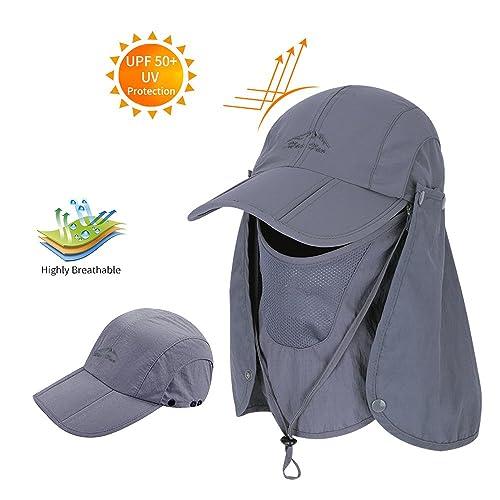 602259bebc1 Men Women Outdoor Sport Hat with Wide Brim Sun Protection UPF 50+ Summer  Mesh Cap