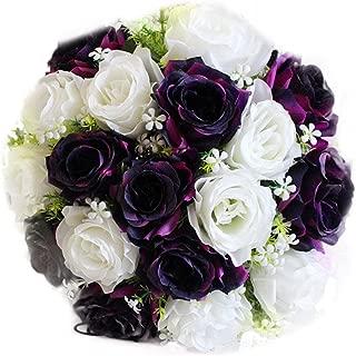 QHB Wedding Bridal Bouquet,18 Flower Heads Handmade Crystal Ribbon Rhinestone Wedding Bridesmaid Bouquet,Bridal Artificial Flowers for Wedding Cheap (B)