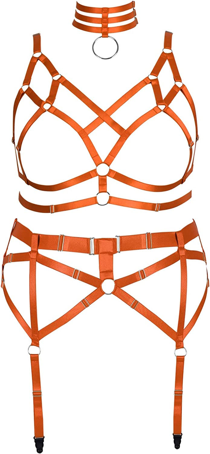 Plus Size Body Harness Lingerie for Women Gothic Full Cage Hollow Out Cupless Bra Strappy Garter Belts Set Punk Clothing