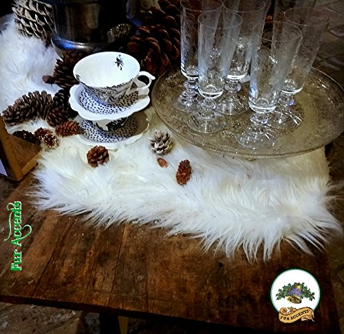 Fur Accents Shag, Faux Fur Table Runner, Christmas Classic, Dresser Scarf, Mantle Scarf, Doily, Mat, Snow White, Christmas Decoration, All Year, Hand Made in America (12'x24')