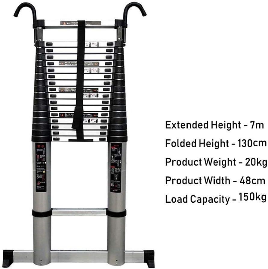 150Kg Capacity,1.4m//4.6ft AFDK Aluminum Telescoping Ladder with Detachable Hooks Portable Multi Purpose Telescoping Extendable Ladder for Engineering Loft