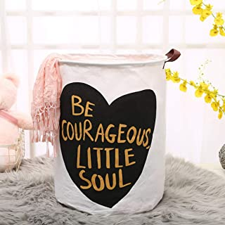 MoreShow Black Heart Design Collapsible Round Cotton Linen Laundry Hamper, Waterproof Laundry Basket,Decorative and Convenient for Bedroom(13.8''x13.8''x17.7'')