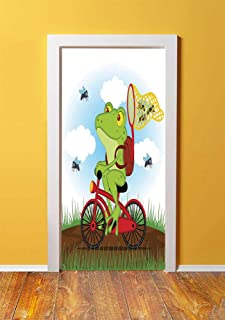 Animal Decor 3D Door Sticker Wall Decals Mural Wallpaper,Funny Frog on a Bike Catching Hunting Flies in the Nature Illustration of Wild Life Print,DIY Art Home Decor Poster Decoration 30.3x78.5333,Mul