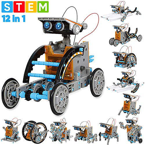 Image of the Sillbird STEM 12-in-1 Education Solar Robot Toys -190 Pieces DIY Building Science Experiment Kit for Kids Aged 8-10 and Older,Solar Powered by The Sun