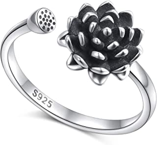 Lotus Flower Ring for Women S925 Sterling Silver Adjustable Wrap Open Ring