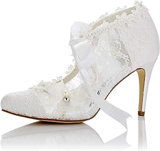 JIA JIA Zapatos de Novia de Las Mujeres 16798 Bombas de Satén de Encaje de Tacón Cerrado con Tacón Alto Corbata de Lazo de...