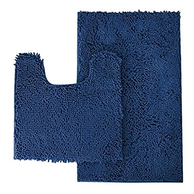 MAYSHINE Bathroom rug toilet sets and Shaggy Non slip Machine washable Soft Microfiber bath Contour mat (Navy Blue,32  20 /20  20  U-Shaped)