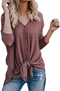 Womens V Neck Waffle Knit Tunic Blouse Tie Knot Botton Down Henley Tops Loose Fitting Bat Wing Plain Shirts S-2XL