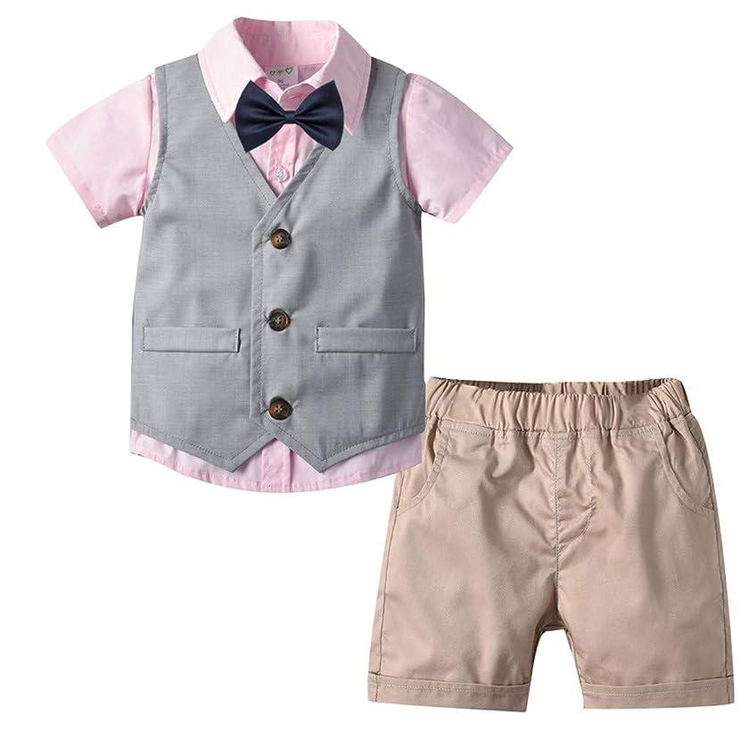 3PCS Toddler Baby Boy Kids Gentleman Solid Bow Tops T-Shirt +Vest +Short Pants Outfits Set