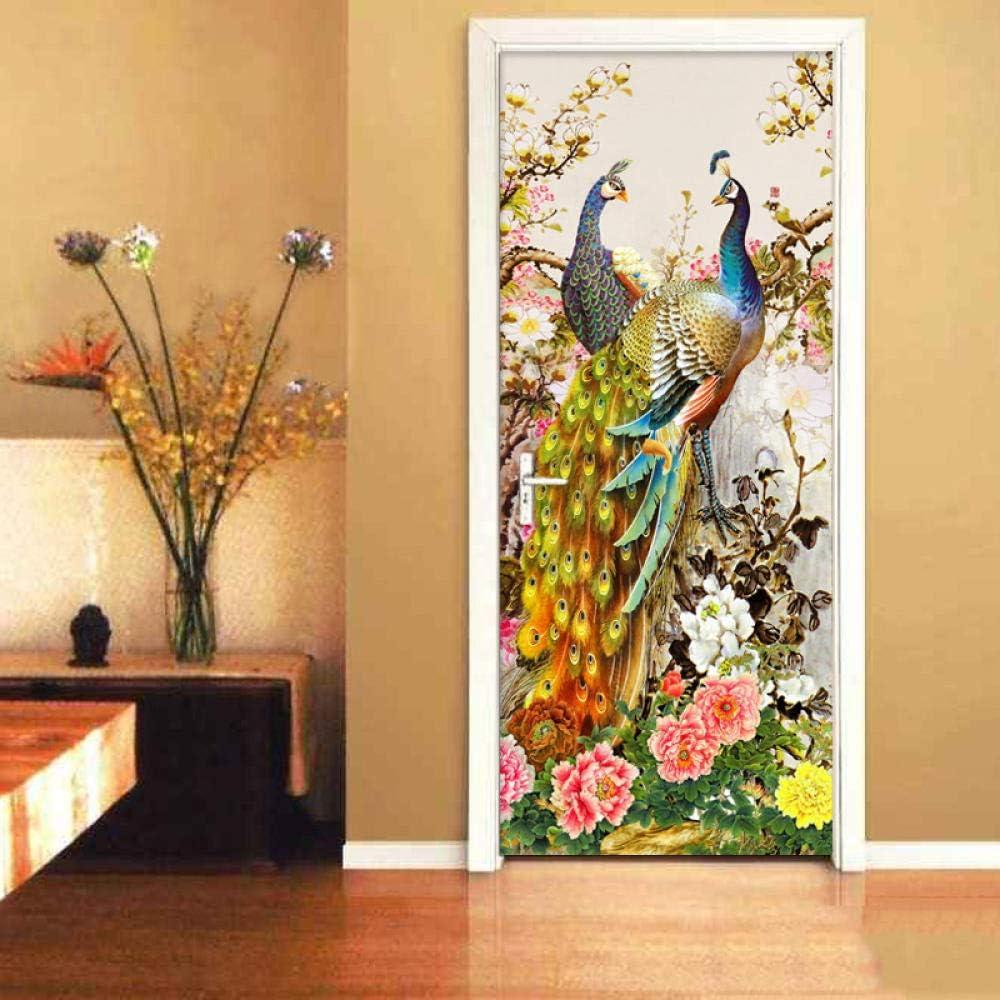 新作販売 GVRPV Self-Adhesive 3D 新色追加 Door Peacock Sticker Wall Flowers