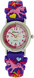 "Ravel Time Teacher Girls 3D""Love My Pony"" Purple Rubber Strap Watch R1513.70"
