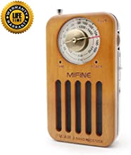 AM FM Pocket Portable Radio - Retro Cherry Wood Battery Operated Radio with Best Reception, Transistor Radio with 3.5mm Headphone Jack for Walking Jogging Gym Camping