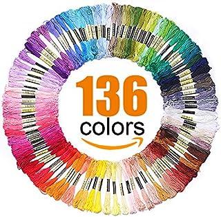 Premium Rainbow Color Embroidery Floss - Cross Stitch Threads - Friendship Bracelets Floss - Crafts Floss - 136 Skeins Per Pack