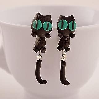 WWahuayuan 1 Pair Cat Crocodiles Earrings,Handcraft Polymer Clay Cute 3D Animal Earrings-Chomper earrings,Piranha Earrings,Fimo Ear Studs