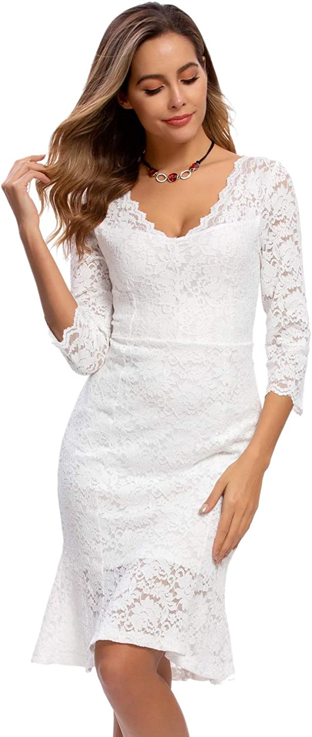Atnlewhi Womens Lace Cocktail Dresses Party Wedding Guest V Neck Formal Evening Bodycon Ruffle Dress