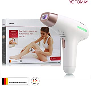 YOFOMAY Permanent IPL Hair Removal Device Home Use, Face & Body Hair Removal System with Razor, 300,000 Flashes(Gold)