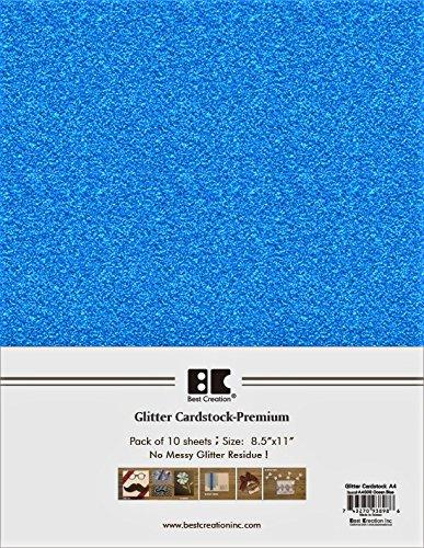 Best Creation A4 Glitter Cardstock, Ocean Blue, 10 Count