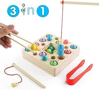 jerryvon Juego De Pescar para Niños - Juguetes Montessori Bebe Madera Peces Juguete Magnetico Infantil Juguetes Educativos Aprendizaje con Caña Preescolares Juegos Pescado Pascua para Niña 3 4 Años