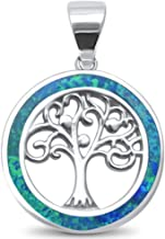 Lab Created Opal Family Tree of Life Whimsical .925 Sterling Silver Charm Pendant Colors Available