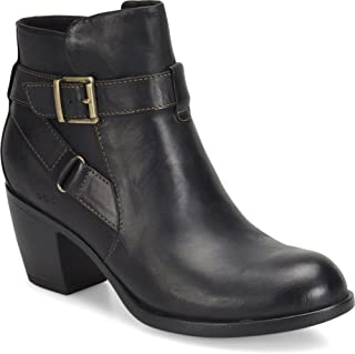 Womens Shea Leather Block Heel Booties