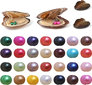Pearls Oyster, 10PCS Twin Pearls Oyster Freshwater Cultured Pearl Oysters with Round Pearl Inside Random Color (6.5-7.5mm) Jewelry Making or Birthday Gifts