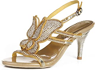 b44413ef85 LLBubble Stiletto Heels Butterfly Crystals Sandals for Wedding Bride Open  Toe Ankle Buckle Strap Prom Evening