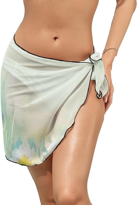 Women Beach Wrap Sarong Cover Up Daisy Flower Field Sexy Short Sheer Bikini Wraps