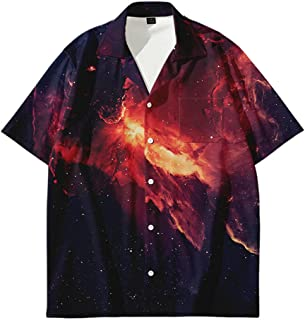 RFEGEF Hawaiian Beach Shirt,Men Hawaiian Shortsleeve Hawaiian Button Shirts Starry Sky Volcanic Rock Print Plus Size Tops ...