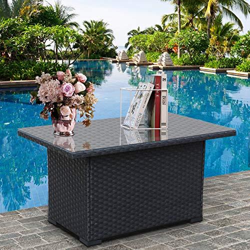 Outdoor PE Wicker Coffee Table - Patio Rattan Garden Furniture Tea Table with Glass Top, Black