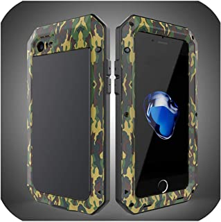Luxury Doom Armor Dirt Shock Waterproof Metal Aluminum Phone Bags Case for iPhone 7 5S 6 6S 8Plus Xs Max Xr Cover+Tempered Glass,for iPhone 7 Plus,Camouflage Green