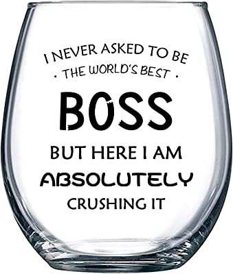 Boss Wine Glass,Best Boss Ever Stemless Wine Glass,Bosses Day Gifts for Women Men Coworkers Bosses Day Christmas Birthday,15 Oz Wine Glass Office or Daily Use