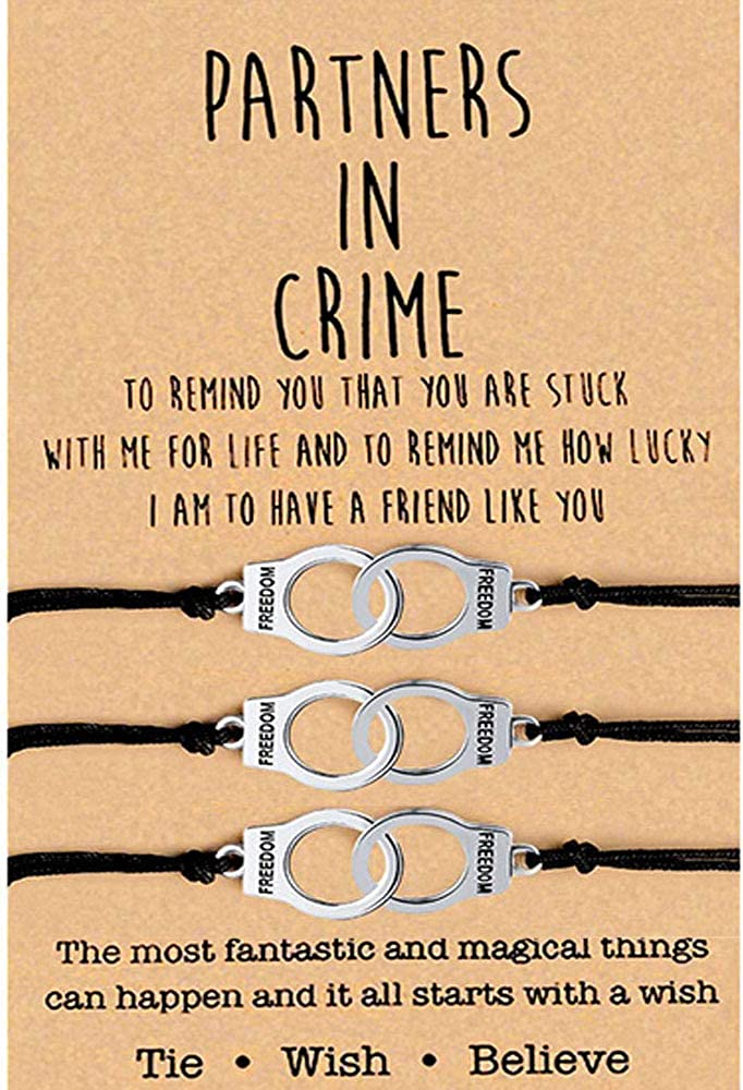 Partners in Crime for 2 Best Friends Handcuff BFF Bracelets Girls Women Friendship Bracelets for Couples, Mom and Daughter 2PC, with 2 Message Cards