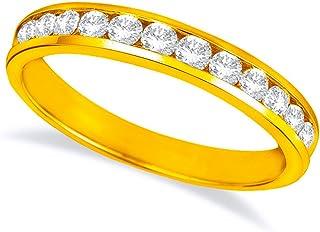 1 Carat (ctw) 14K White Gold Round Diamond Ladies Channel Set Half-Way Semi-Eternity Wedding Anniversary Stackable Ring Ba...