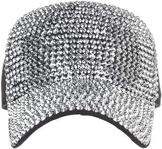 Ponycap Messy High Bun Ponytail Adjustable Mesh Trucker Baseball Cap Hat for Women-Cotton Cap Star Rhinestone Cap