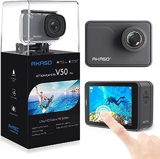 AKASO V50 Pro アクションカメラ 2インチタッチスクリーン 超高画質4K/30fps 2000万画素 WiFi搭載 EIS手ぶれ補正 170度超広角 視角調整可能 外部マイク対応 30m防水 HDMI出力 スポーツカメラ リモコン付き 水中カメラウェアラブルカメラ バイク/自転車/車に取り付け可能 メーカー12ヶ月安心保証 (ブラック)