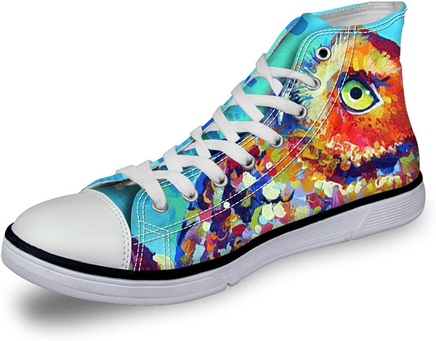 FOR U DESIGNS Fashion Unisex Owl Wolf Horse Animal Print High Top Lace Up shoes Casual Canvas Sneakers for Women and Men