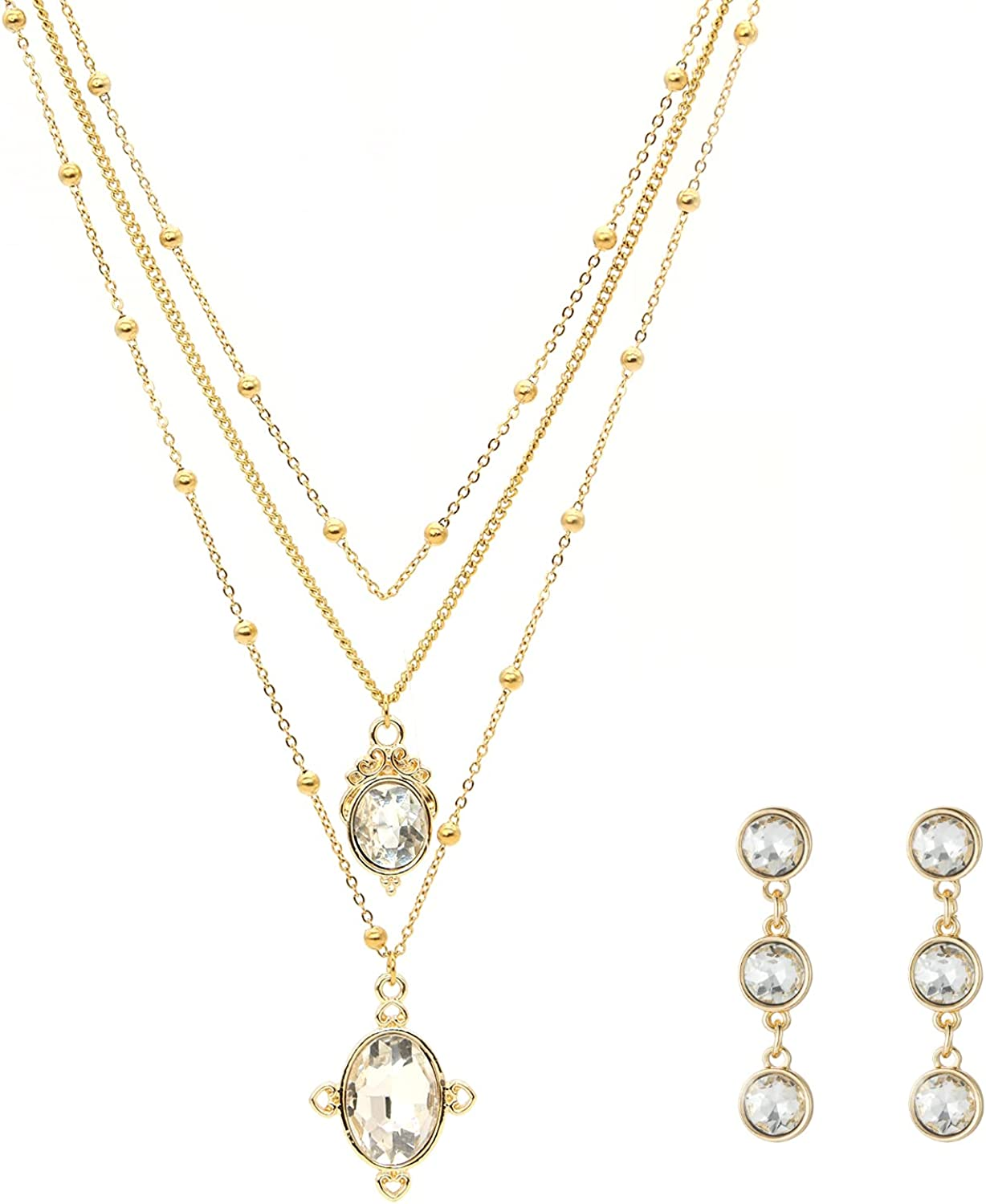 Layered Necklace and Earrings Sets for Women Simple Gold Chains Pendant Necklace Jewelry Gifts for Her on Christmas/Valentine's/Mother's Day/Anniversary/ Birthday Necklace Sets Gifts for Women/Girls/Wife/Girlfriend