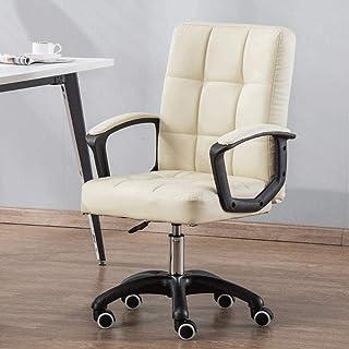 Las sillas de Escritorio, Silla de Oficina Cuero PU-Acolchado con Respaldo Medio for Escritorio Silla Apoyabrazos de la computadora Silla ergonómica Adultos Sillón (Color : Beige)