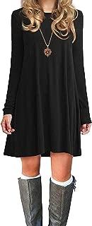Womens Basic Loose T-Shirt Plain Long Sleeve Flowy Swing Dress Simple Tunic