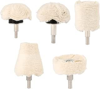 ODOMY 5Pcs Buffing Polishing Wheel For Drill Flannelette Polishing Mop Wheel Cone/Column/Mushroom/T-shaped Wheel Grinding Head With 1/4