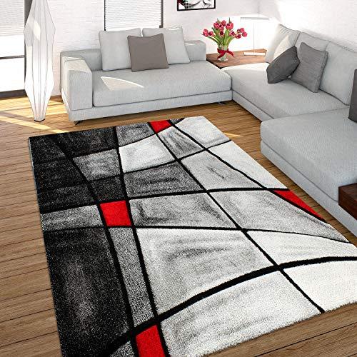Paco Home Alfombra Moderna De Diseño Perfilado Hecha A Mano - A Cuadros En Gris Rojo, tamaño:200x290 cm