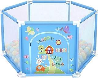 deAO Parque de Juegos Infantil Corralito para Bebe Incluye Bolas de Colores (Hexagonal Azul)
