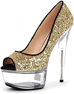 Summer Platform Sandals,PeepToe Crystal StilettoHeel,Sequins Pumps Waterproof Heels Are Perfect for Going Out on The Weekend (35-46)
