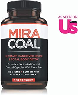 Miracoal Hangover Prevention with Organic Activated Coconut Charcoal | Detox and Relief (100 Capsules) for Alcohol Recovery | A Gluten Free Dietary Supplement with Electrolytes