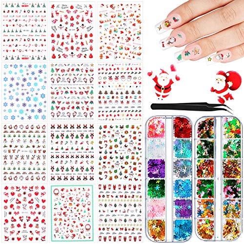 12 Sheets Christmas Nail Art Sticker Decals and 24 Boxes Christmas Nail Flakes Nail Sequins Heart Shape Star Snowflake Christmas Tree Laser Sequins with Tweezers for DIY Face Body Makeup Decorations
