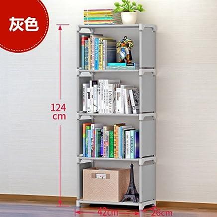 FEN&G Bibliothèque Simple bibliothèque Rack Combinaison créative Plancher étage bibliothèque pour Enfants, Gris