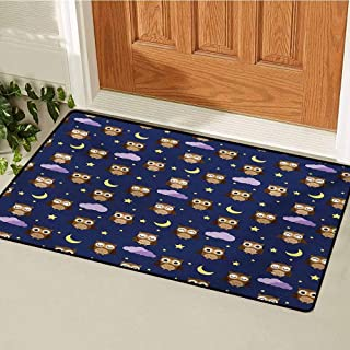GUUVOR Nursery Welcome Door mat Cute Owls in an Starry Night and Moon Happy Sleepy and Alert Animals Door mat is odorless and Durable W35.4 x L47.2 Inch Night Blue Brown Yellow